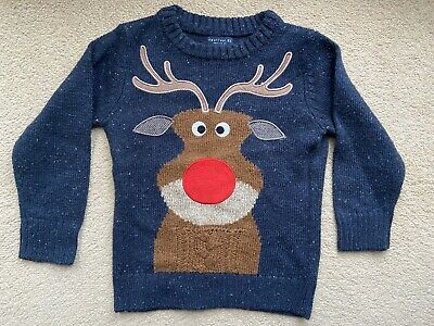 EXCELLENT!! Next Christmas Reindeer Rudolph Jumper Boys Age 3 Years Navy Blue