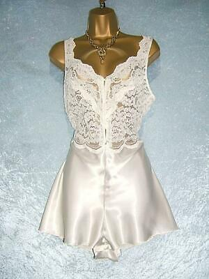VTG ST Michael Glossy Satin Playsuit Slippery Smooth Teddie Tap Panties Lacy 16
