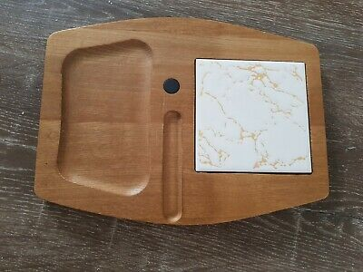 Vintage Wooden Cheese Board with Ceramic Cutting Tile Rare Retro Collectable