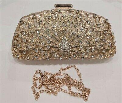 Crystal Diamante Clutch Bags Purse Box Ladies Wedding Prom Party Evening Bridal