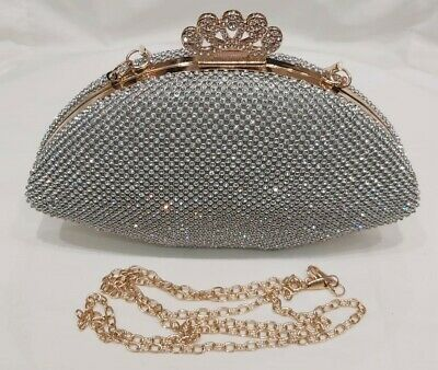 Ladies Wedding Prom Party Sequins Evening Crystal Diamante Clutch Box Purse Bags