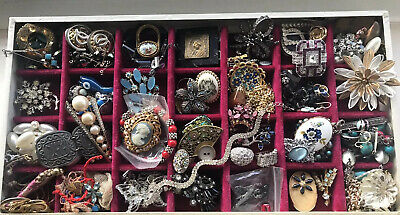 Antique Jewellery Job Lot Costume Broken Crafts Repair Wear Collectable Tray Inc
