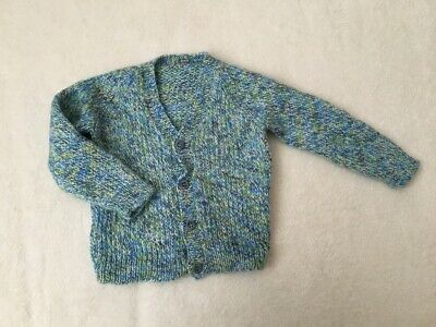 ***Hand knitted baby boy Blue cardigan 0-6 months VGC***