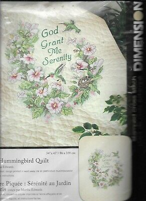 Dimensions Stamped Cross Stich,SERENITY HUMMINGBIRD QUILT KIT,Pre-Quilted,#3232