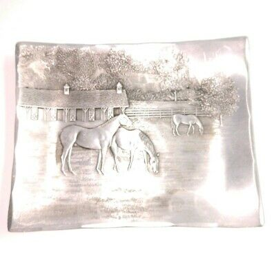 """Vintage Wendell August Forge Hand Made 5"""" Aluminum Tray Horse Barn Stable Scene"""
