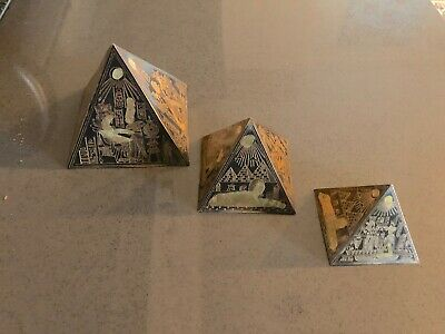 Vintage Engraved Copper Pyramid (Historical Egyptian Scenes) Made in Morocco