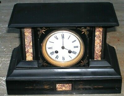 Antique French Japy Freres Inlaid Stone Marble Clock T&S Brocot Speed Adjustment