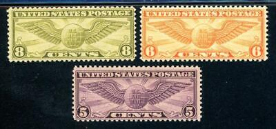 USAstamps Unused VF US Airmail Winged Globe Scott C16, C17, C19 OG MNH