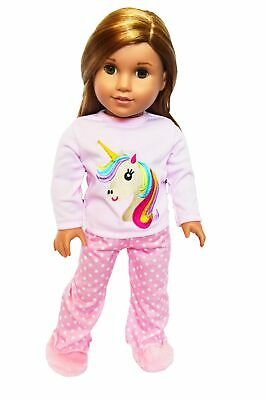 Unicorn Doll Pajamas Doll Outfit Fits 18 Inch American Girl Doll Clothes