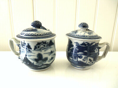 Two Fine Antique Chinese Export Blue and White Canton Pot de Creme Cups and Lids