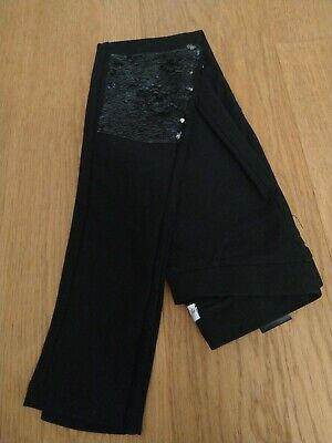11 - 12 yrs Girls black trousers (jeggings) with sequin knee patches, VGC, H&M