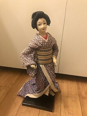 Beautiful Old Classic Vintage Asian Japanese Geisha Doll Blue Kimono on Stand