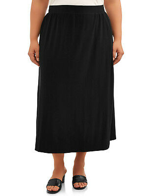 Terra /& Sky Womens Plus Maxi Sueded Skirts size 4X Black Soot Relaxed Fit NWT