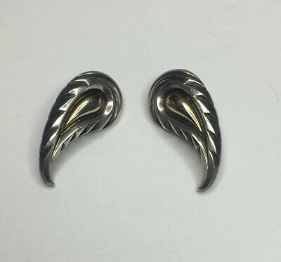 Paisley Design 14k 925 Earrings Signed Morell Heavy Weighing 9.3 Grams