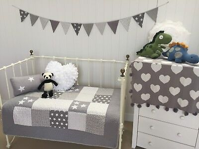 2pce Lachlan Grey Cot Quilt & Rectangle Cushion Boys Girls Patchwork Bedding