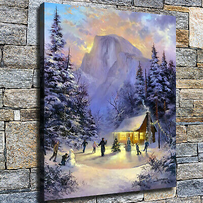 """12""""x16"""" Christmas kids rollerblading Paints HD Home Decor Wall art Posters photo"""