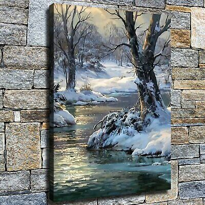 """12""""x16""""Snow scene of running water HD canvas photo home decor wall Art poster"""