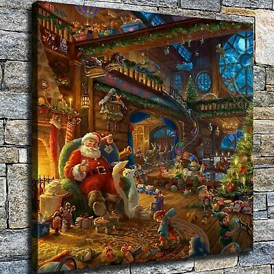 """12""""x12"""" Santa's Home HD Canvas prints Painting Home decor room Wall art picture"""