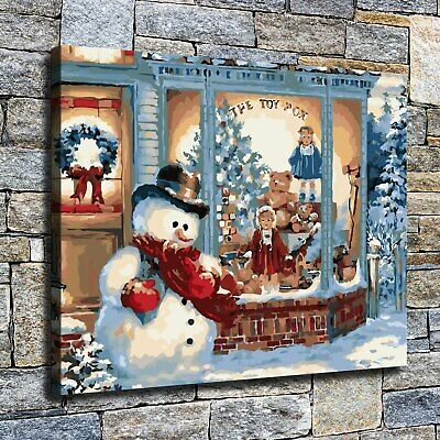 "12""x14""The snowman by the window HD Prints on Canvas Home Decor Poster Wall Art"