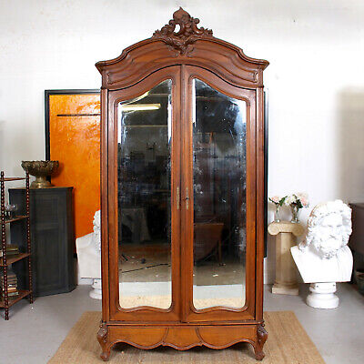 Antique French Walnut Armoire Wardrobe Mirrored 19th Century Tall Victorian
