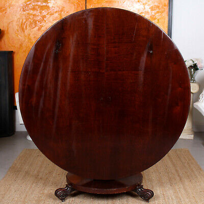 Antique Circular Dining Tripod Table Tilt Breakfast Centre Victorian Mahogany