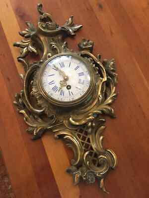 French Clock Wall Bronze Antique 19th Century Rare Gift 53x29 Cm Old Amazing Vtg