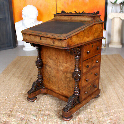 Antique Walnut Davenport Mid 19th Century Burl Burr Walnut Writing Desk
