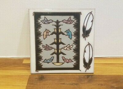 Vintage Masterworks Art Tile Trivet Coaster Native American - Bird Feather