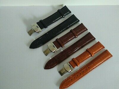 For Bulova Watch Genuine Leather Strap Band Clasp 18/19/20/21/22/24mm
