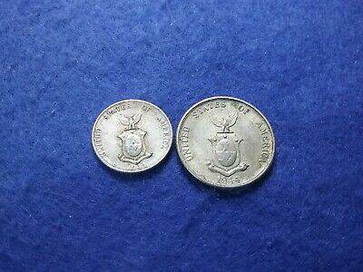 1944D USA Philippines 10 And 20 Centavos - (2) Silver Coins