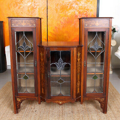 Antique Glazed Bookcase Stained Glass Art Nouveau Mahogany Display Cabinet