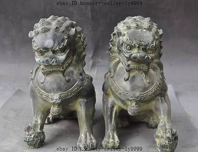 """8"""" chinese bronze fengshui Ward off evil foo dog lion Guardian beast statue pair"""