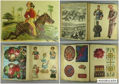 Antique Victorian Scrap Book ~ Scraps Cuttings ~ Woolwork Painted Pattern Charts