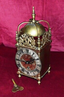Antique Solid Brass Large Lantern Clock Working