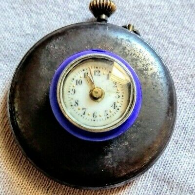 Antique 19 century widow watch with porcelain mini dial, running