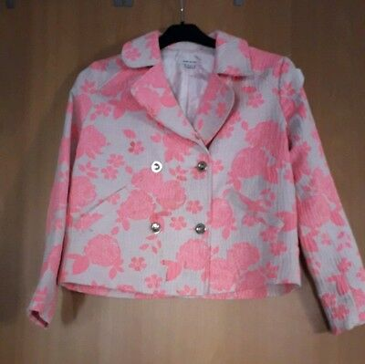 Girls River Island Dressy Double Breasted Patterned Jacket Age 11 Bnwot