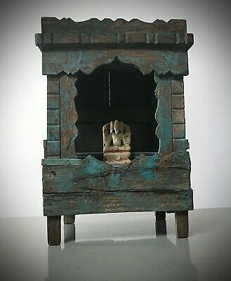 Antique Vintage Indian Sacred Hindu Home Temple / Shrine. Art Deco. Turquoise.