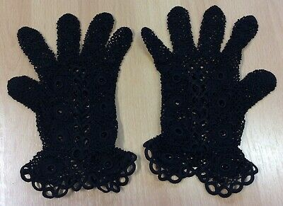 Vintage Black Crocheted Gloves S-M