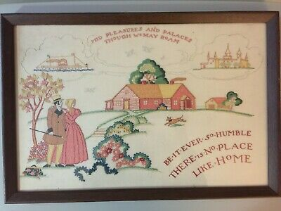 Vintage Handmade Satin Stitch Free Style Embroidery Sampler NO PLACE LIKE HOME