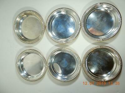 Set 6 Birks  Sterling Silver Gadroon pattern coasters candy dishes  rolled rim