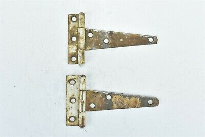 "Vintage SET of 2 4 7/8"" BARN DOOR GATE HINGES HARDWARE OLD RUSTIC PATINA #08419"
