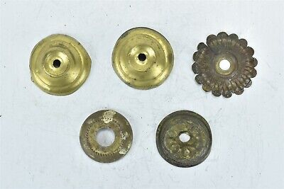 Antique LOT 5 PRESS BRASS DRAWER ESCUTCHEON ROSETTE HARDWARE STEAMPUNK ART 08360