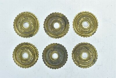 Antique SET of 6 VICTORIAN PRESSED BRASS DRAWER ESCUTCHEON ROSETTE HARDWARE 8356