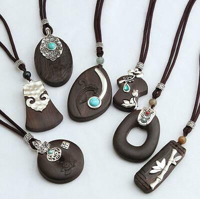 Ethnic Long Necklace Wood Pendant Women National Style Simple Hand Woven Jewelry