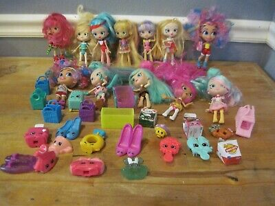 Shopkins Shoppies 12 Dolls Colorful Hair-Accessories-Brushes 43Pc Lot