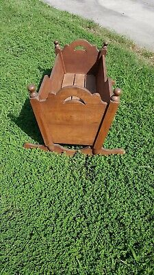 Beautiful Vintage Wooden Baby Cradle Swing