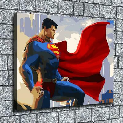"12""x16""Superman oil paintings HD Canvas print Home decor Room Wall Art Posters"