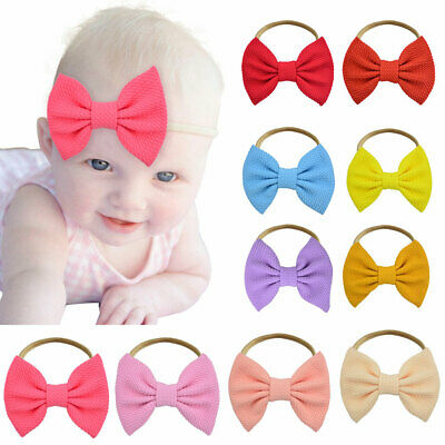 EE_ Baby Girls Big Bow Soft Headband Hairband Head Wraps One Size Fits Most 20 C