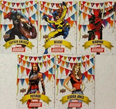 2016 MARVEL Annual Trading Card Set HAPPY BIRTHDAY ( HB1 - 5 )