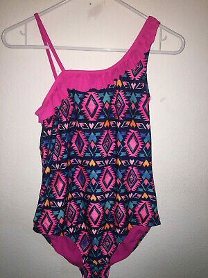 SO Girls Plus Size 16.5 One piece Bathing suit pink blue geometric Swimsuit